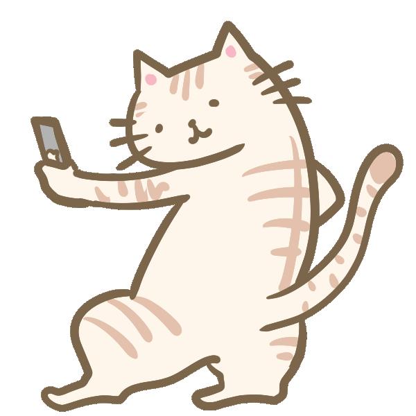 自撮りする猫のイラスト