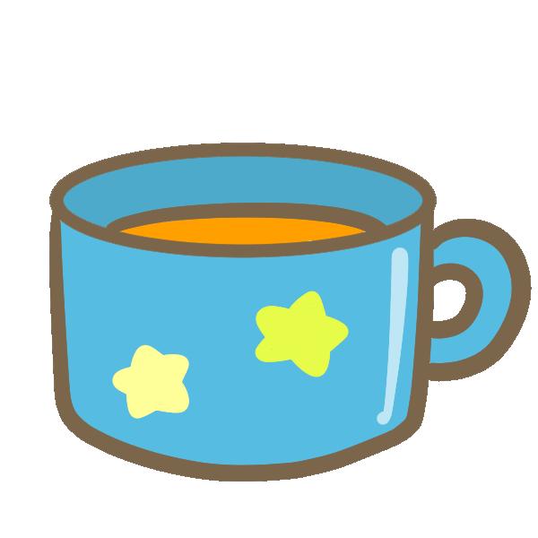 マグカップにオレンジジュースのイラスト
