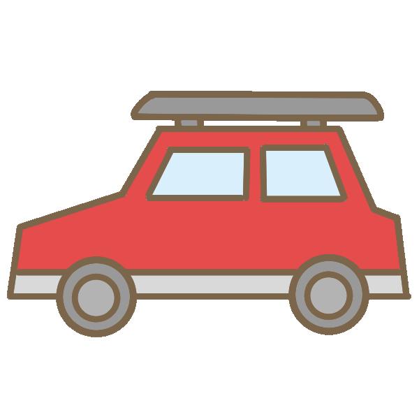 乗用車(赤)のイラスト