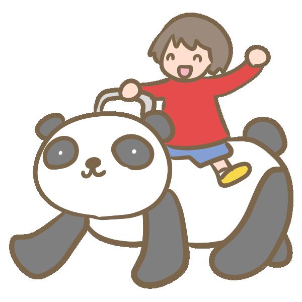 パンダの乗り物のイラスト
