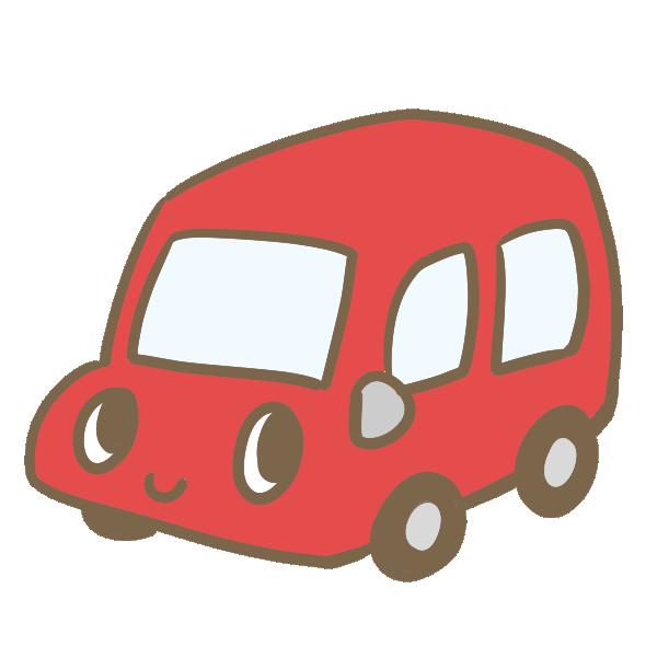 カワイイ車(赤)のイラスト