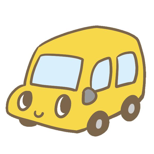 カワイイ車(黄)のイラスト