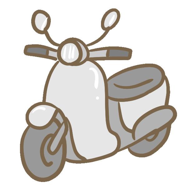 原付バイク(グレー)のイラスト