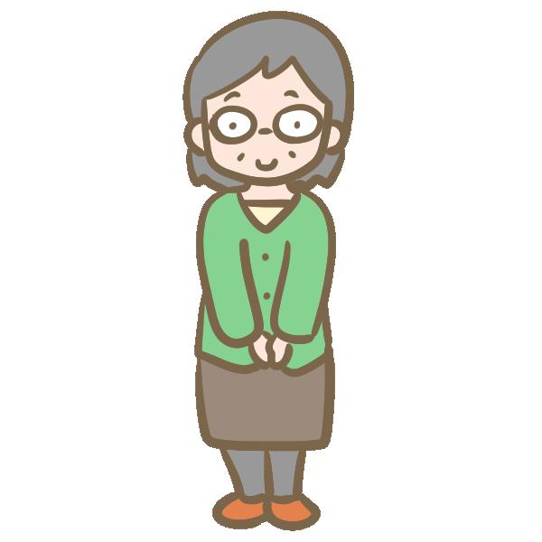 若いおばあちゃん(メガネ)のイラスト