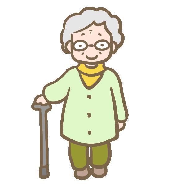 年老いたおばあちゃん(メガネ)のイラスト