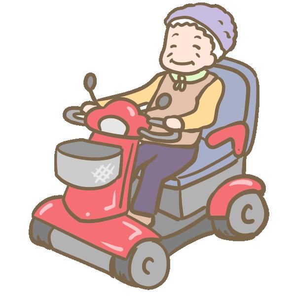 セニアカーに乗るおばあちゃんのイラスト