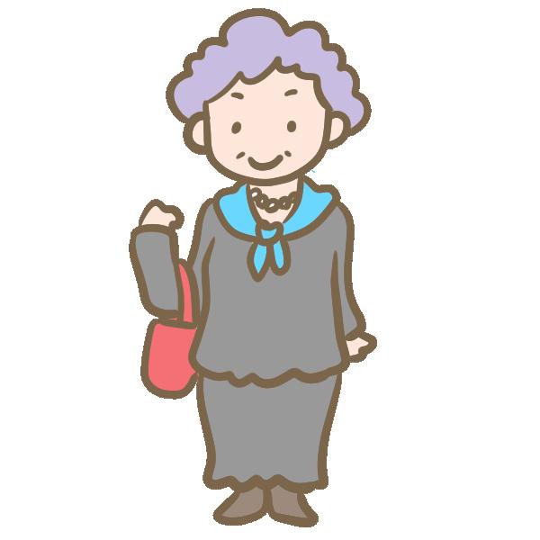 紫の髪のおばあちゃんのイラスト
