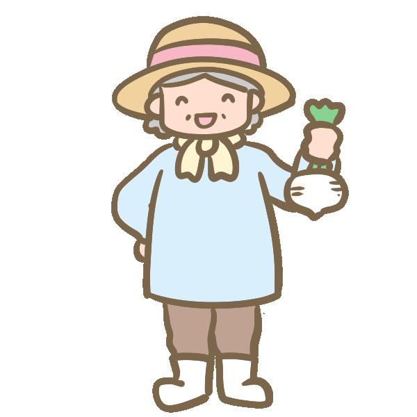 農家のおばあちゃんのイラスト