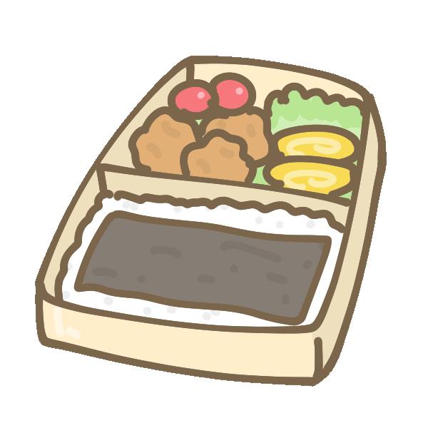 唐揚げ海苔弁当のイラスト
