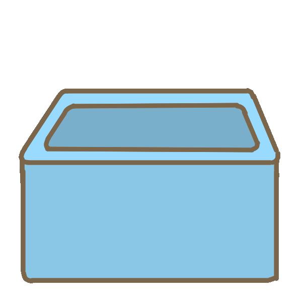 レトロなお風呂(水色)のイラスト