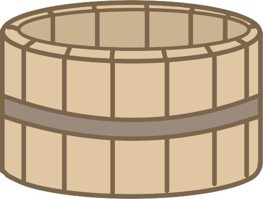 木の桶のイラスト