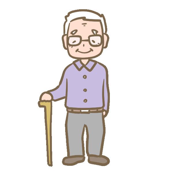 年老いたおじいちゃん(メガネ)のイラスト