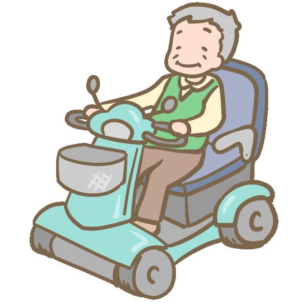セニアカーに乗るおじいちゃんのイラスト