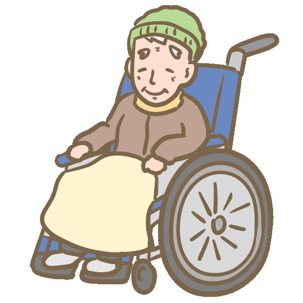 車椅子のおじいちゃんのイラスト