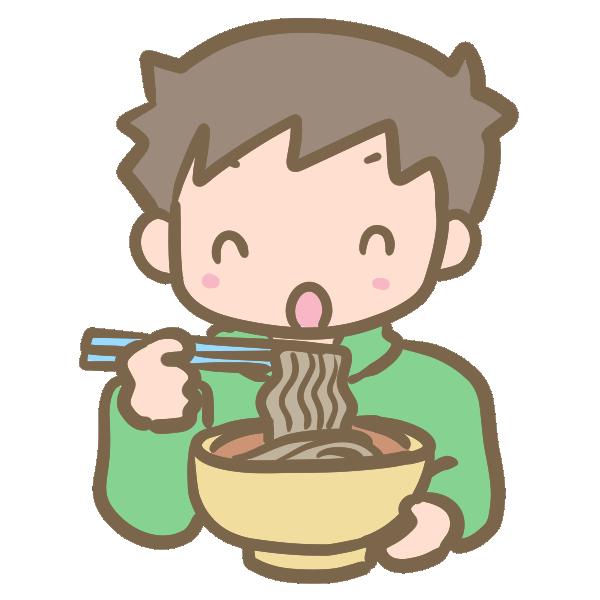 年越し蕎麦を食べる男の子のイラスト