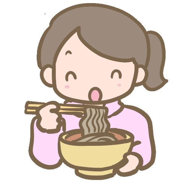 年越し蕎麦を食べる女の子のイラスト