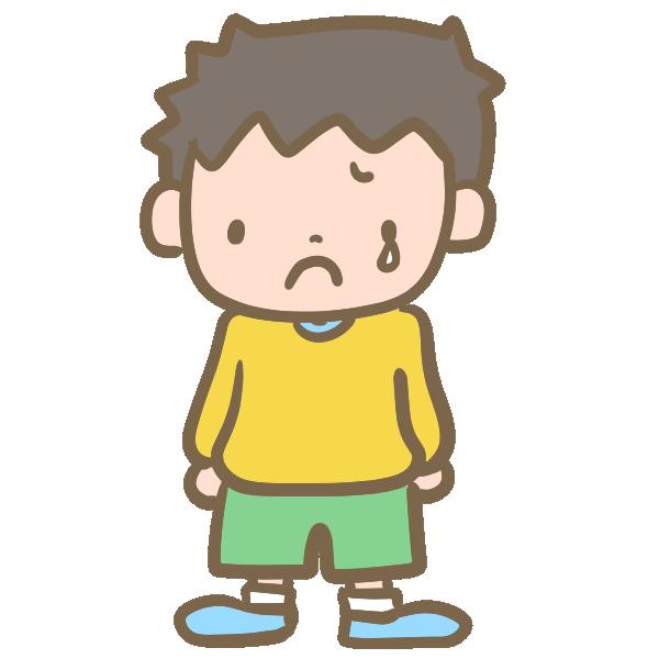 悲しむ男の子のイラスト