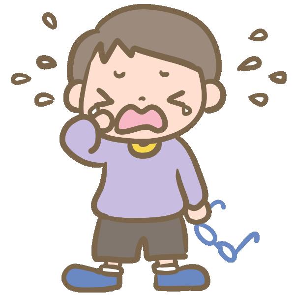 泣く男の子(メガネ)のイラスト
