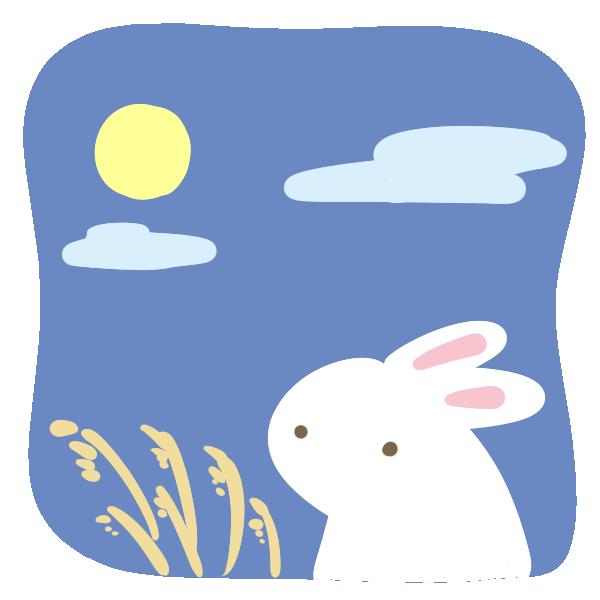 月とウサギのイラスト