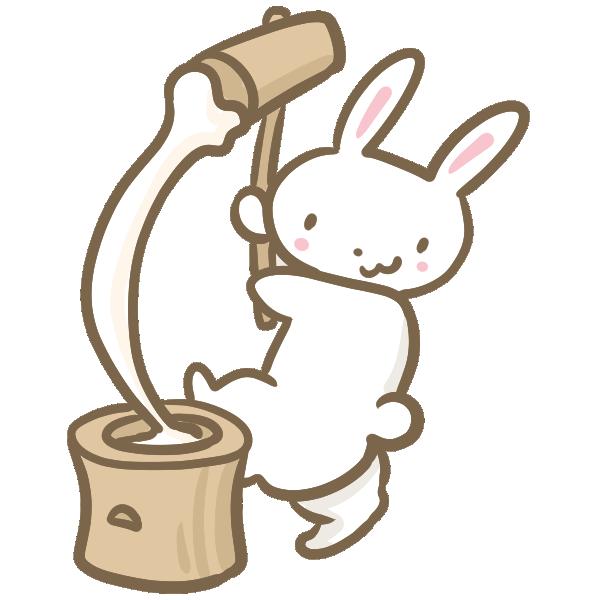 もちつきするウサギのイラスト