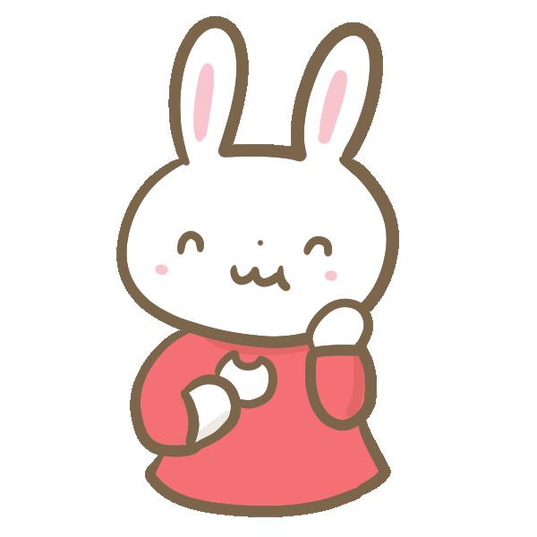 団子を食べるウサギの女の子のイラスト