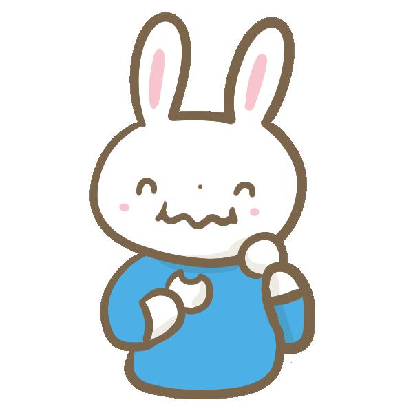 団子を食べるウサギの男の子のイラスト