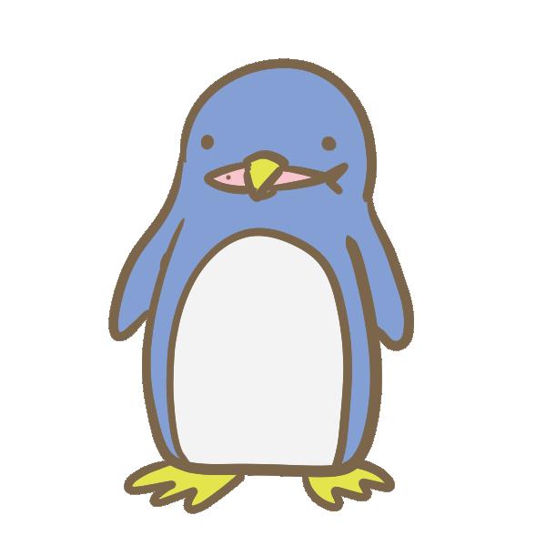魚をくわえたペンギンのイラスト