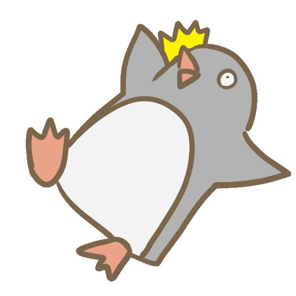 転ぶペンギンのイラスト