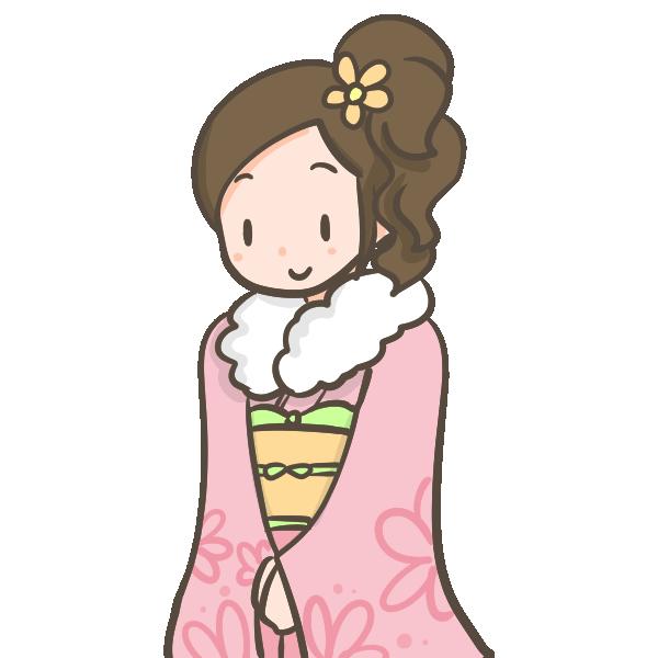 ピンクのお振り袖を着た成人女性のイラスト