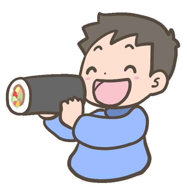 恵方巻を食べる男の子のイラスト
