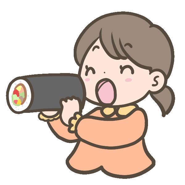 恵方巻を食べる女の子のイラスト