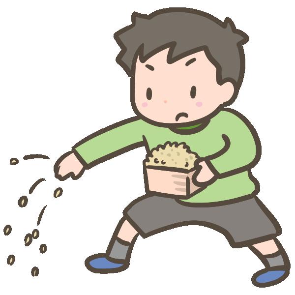 豆まきをする男の子のイラスト