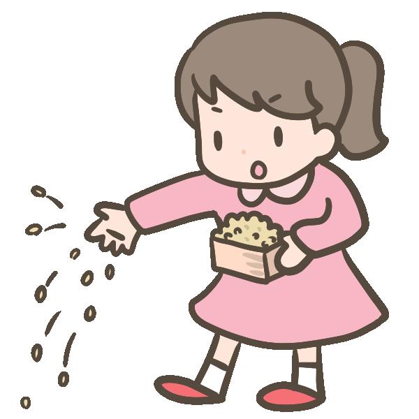 豆まきをする女の子のイラスト