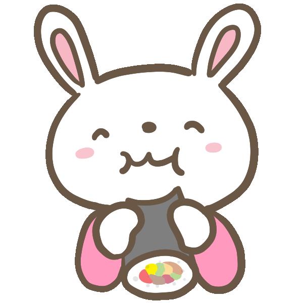 恵方巻を食べるウサギのイラスト