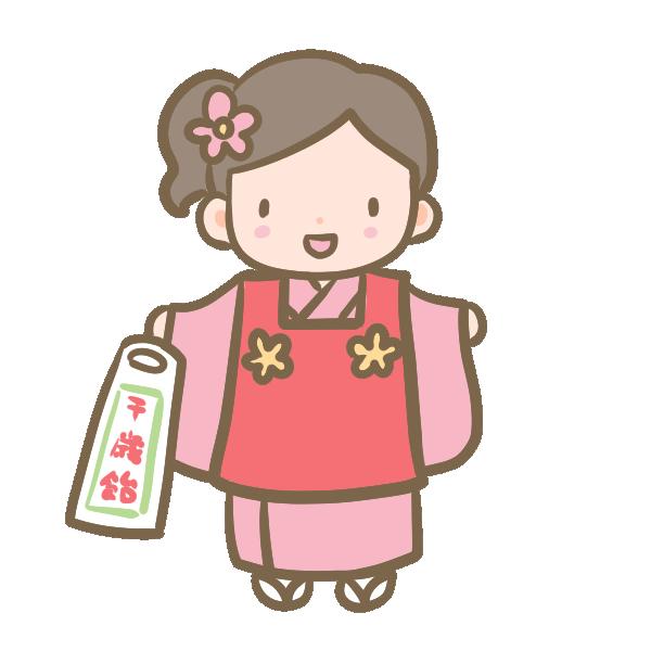 三歳の女の子(赤)のイラスト