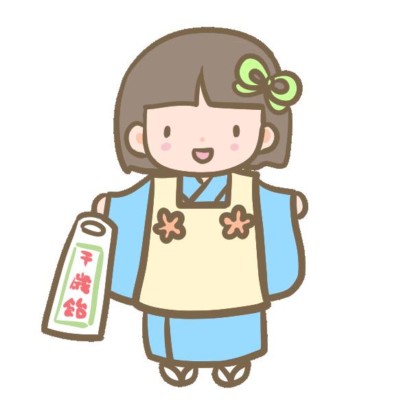 三歳の女の子(青)のイラスト