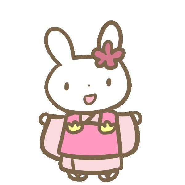 三歳の女の子(ウサギ)のイラスト