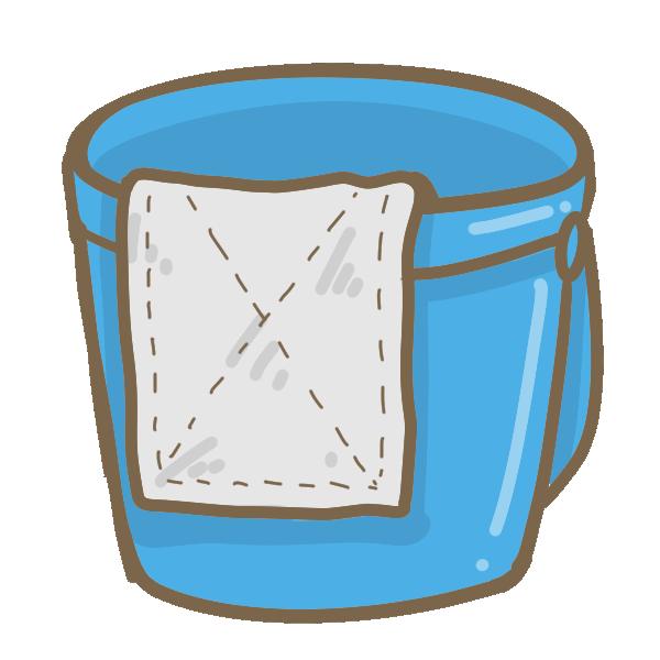 バケツにかけた雑巾のイラスト