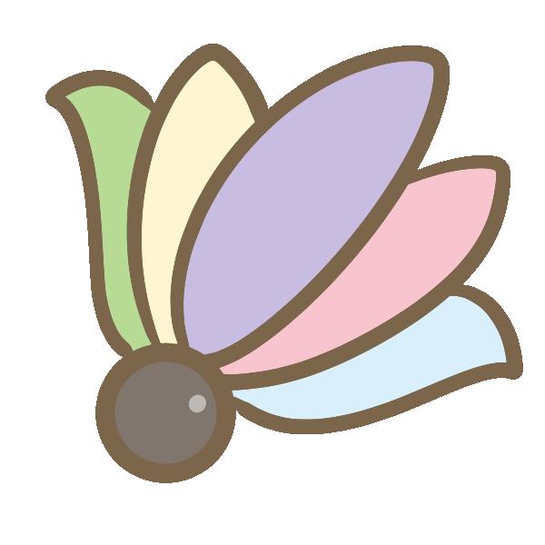 丸羽根(淡色)のイラスト