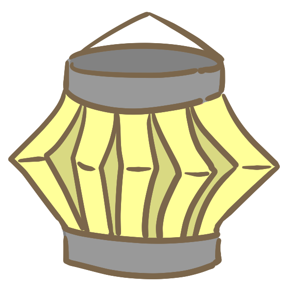 紙の提灯(黄)のイラスト