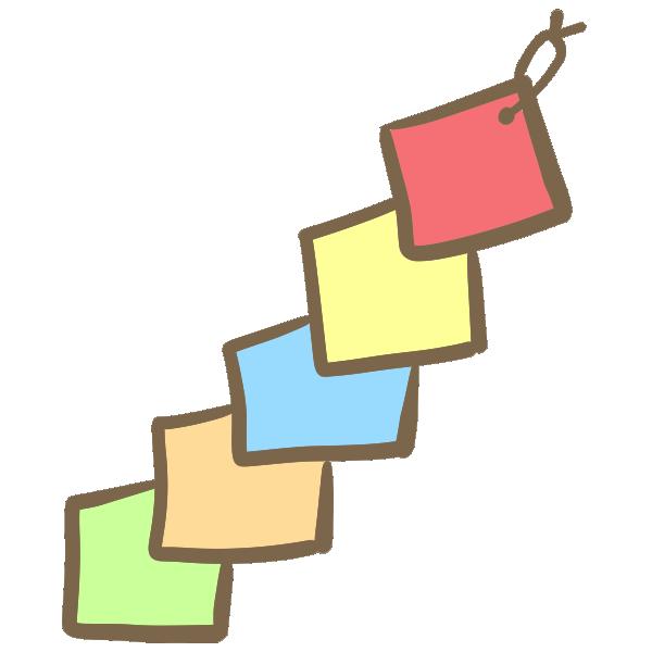 四角い色紙の飾りのイラスト