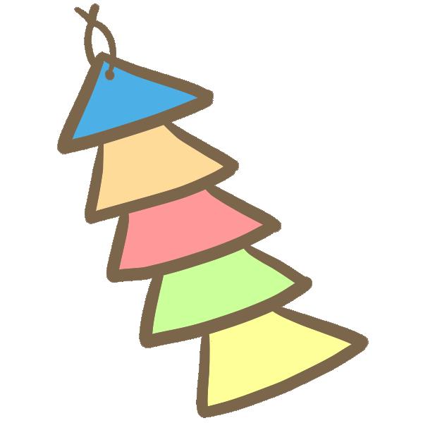 三角色紙の飾りのイラスト