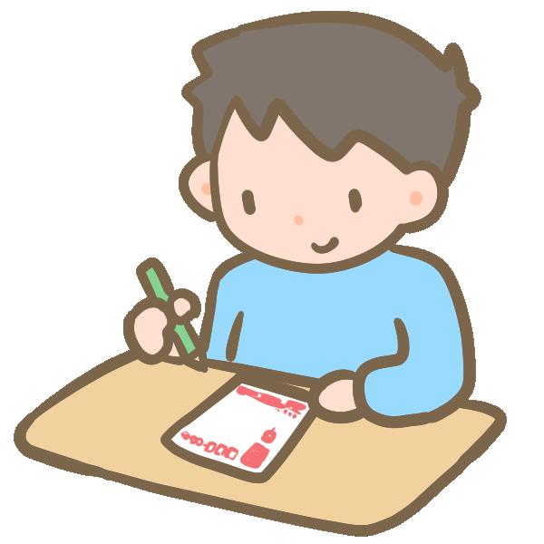 年賀状を書く男の子のイラスト