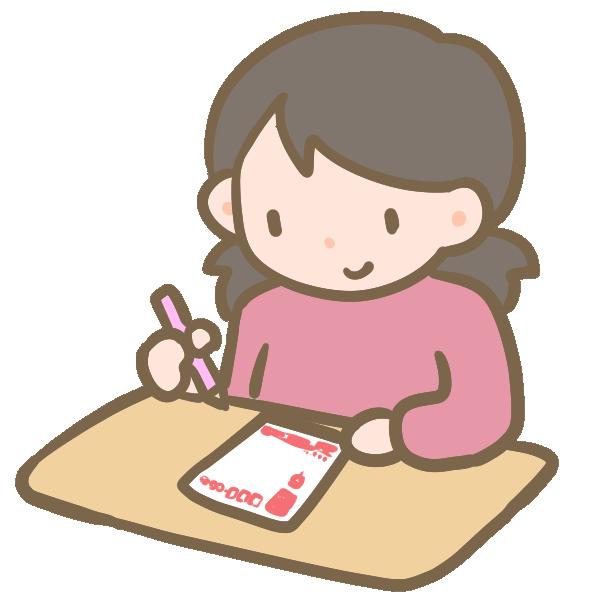 年賀状を書く女の子のイラスト