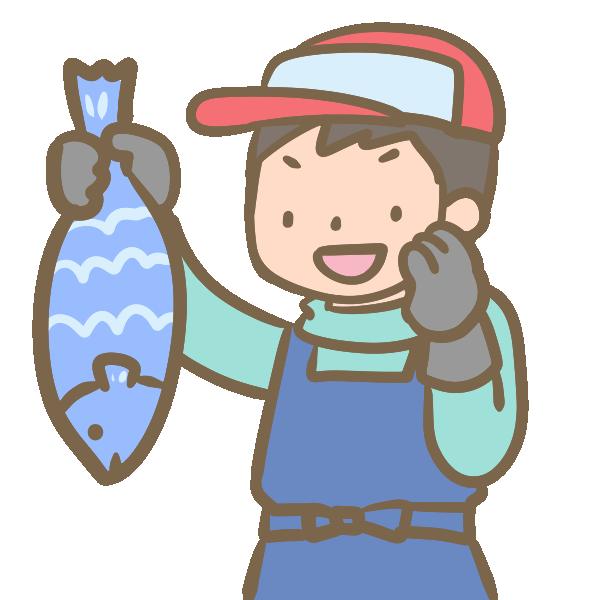 魚を売る人のイラスト