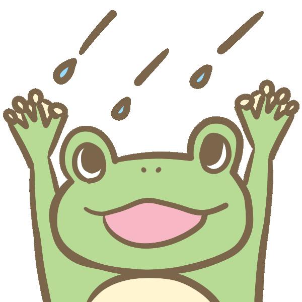 雨に喜ぶカエルのイラスト