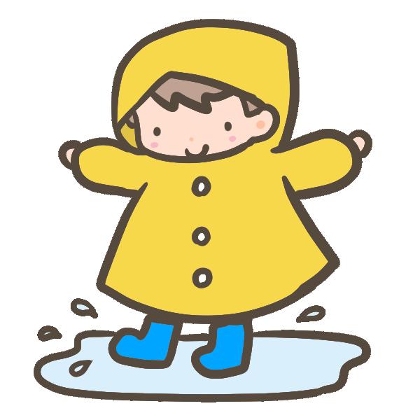 雨合羽の男の子のイラスト