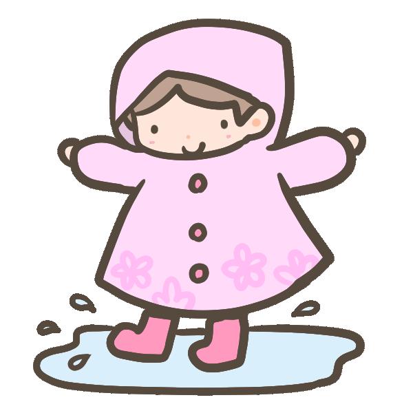 雨合羽の女の子のイラスト