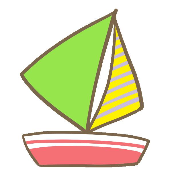 ヨット(緑)のイラスト