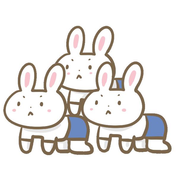 ウサギの組み体操のイラスト